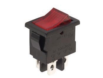 ROCKER SWITCH 5A-250V DPST ON-OFF RED
